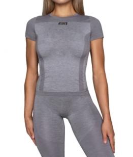 ESN Premium Seamless Women T-Shirt, Grey-Silver M-L