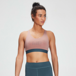 MP Women's Branded Training Sports Bra - Washed Pink  - L