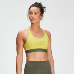 MP Women's Branded Training Sports Bra - Washed Yellow  - M