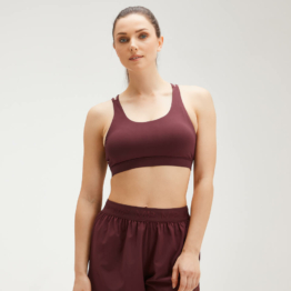 MP Women's Essentials Training Control Sports Bra - Washed Oxblood - S
